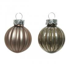 Pale Brown Ribbed Glass Baubles - 12 x 3cm
