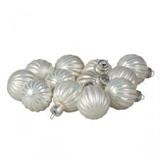 Winter White Ribbed Glass Baubles - 12 x 3cm