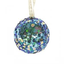 Petrol Blue Sequin Sparkle Bauble - 8cm