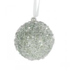 Sage Green Sequin Sparkle Bauble - 8cm
