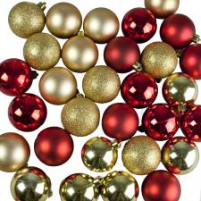 Red & Gold Assorted Shatterproof Baubles - 30 x 60mm
