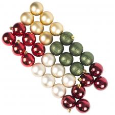 Red, Gold & Green Assorted Shatterproof Baubles - 30 x 60mm
