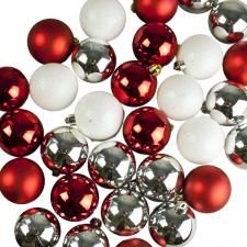 Silver, Red & White Assorted Shatterproof Baubles - 30 x 60mm