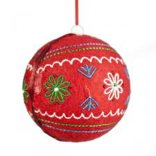 Gisela Graham Red Fabric Christmas Bauble - 80mm