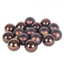 Brown Fashion Trend Shatterproof Baubles - Pack Of 16 x 40mm