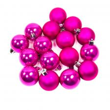 Cerise Pink Fashion Trend Shatterproof Baubles - Pack Of 16 x 40mm