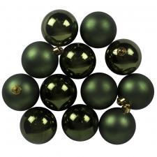 Dark Green Fashion Trend Shatterproof Baubles - Pack Of 12 x 60mm