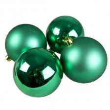 Emerald Green Fashion Trend Shatterproof Baubles - Pack Of 4 x 100mm