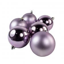 Frosted Lilac Fashion Trend Shatterproof Baubles - Pack Of 6 x 80mm