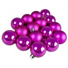 Magenta Pink Fashion Trend Shatterproof Baubles - Pack Of 16 x 40mm