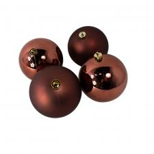 Rosewood Brown Fashion Trend Shatterproof Baubles - Pack Of 4 x 100mm