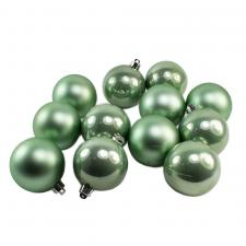 Sage Green Fashion Trend Shatterproof Baubles - Pack Of 12 x 60mm
