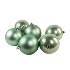 Sage Green Fashion Trend Shatterproof Baubles - Pack Of 6 x 80mm