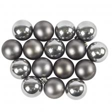 Stone Grey Fashion Trend Shatterproof Baubles - Pack Of 16 x 40mm