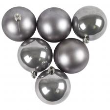 Stone Grey Fashion Trend Shatterproof Baubles - Pack Of 6 x 80mm