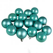 Turquoise Fashion Trend Shatterproof Baubles - Pack Of 16 x 40mm