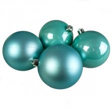 Turquoise Fashion Trend Shatterproof Baubles - Pack Of 4 x 100mm