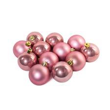 Velvet Pink Fashion Trend Shatterproof Baubles - Pack Of 12 x 60mm