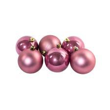 Velvet Pink Fashion Trend Shatterproof Baubles - Pack Of 6 x 80mm
