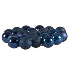 Midnight Blue Mixed Finish Shatterproof Baubles - 24 X 60mm