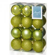 Olive Green Mixed Finish Shatterproof Baubles - 24 X 60mm