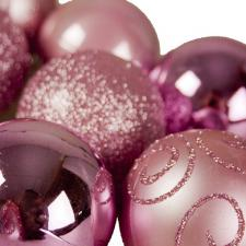 Pink Mixed Finish Shatterproof Baubles - 24 X 60mm