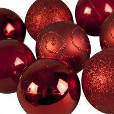 Red Mixed Finish Shatterproof Baubles - 24 X 60mm
