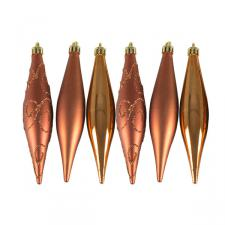 Copper Shatterproof Mixed Finish Hanging Teardrops - 6 X 150mm