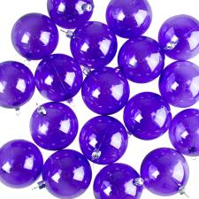 Purple Tinted Transparent Shatterproof Baubles - Pack of 18 x 67mm