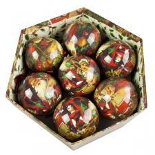 Traditional Santa Decoupage Baubles In Gift Box - 14 X 75mm