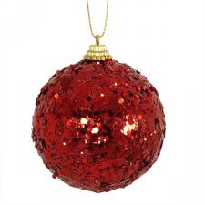Spangle Bauble With Dark Red Glitter Finish - 80mm