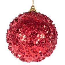 Spangle Bauble With Christmas Red Sequin Finish - 80mm