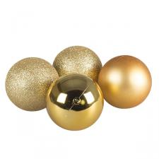 Mixed Finish Gold Shatterproof Baubles - 4 X 100mm