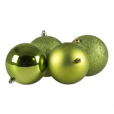 Mixed Finish Green Shatterproof Baubles - 4 X 100mm