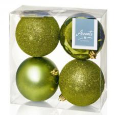 Mixed Finish Olive Green Shatterproof Baubles - 4 X 100mm