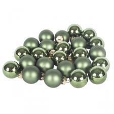 Dark Green Matt & Shiny Glass Baubles - 24 X 25mm