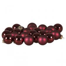 Dark Red Matt & Shiny Glass Baubles - 24 X 25mm