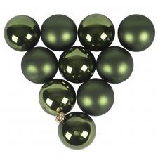 Tub Of Dark Green Shiny & Matt Glass Baubles - 10 X 60mm