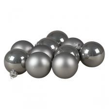Tub Of Grey Shiny & Matt Glass Baubles - 10 X 60mm