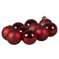 Tub Of Christmas Red Shiny & Matt Glass Baubles - 10 X 60mm