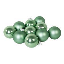 Tub Of Sage Green Shiny & Matt Glass Baubles - 10 X 60mm