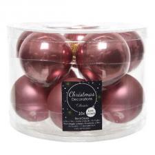 Tub Of Velvet Pink Shiny & Matt Glass Baubles - 10 X 60mm