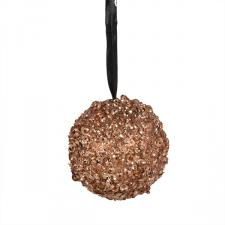 Almond Decorative Bauble With Glitter And Sequin Finish