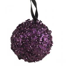 Purple Decorative Bauble With Glitter And Sequin Finish