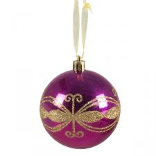 Raspberry Pink Shiny Shatterproof Bauble Decorated With Gold Glitter - 80mm