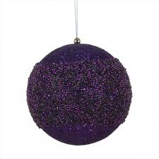 Purple Glitter Beaded Bauble - 175mm