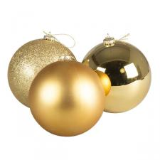Box Of 3 Mixed Finish Gold Shatterproof Baubles - 150mm
