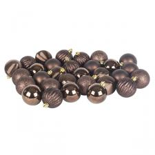 Brown Mixed Finish Shatterproof Baubles - 30 X 60mm