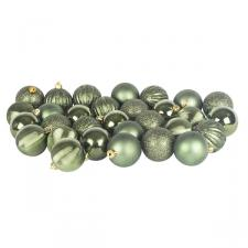 Dark Green Mixed Finish Shatterproof Baubles - 30 X 60mm