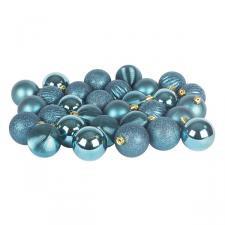 Petrol Blue Mixed Finish Shatterproof Baubles - 30 X 60mm